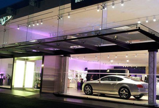 Car showroom lighting project bentley singapore 1