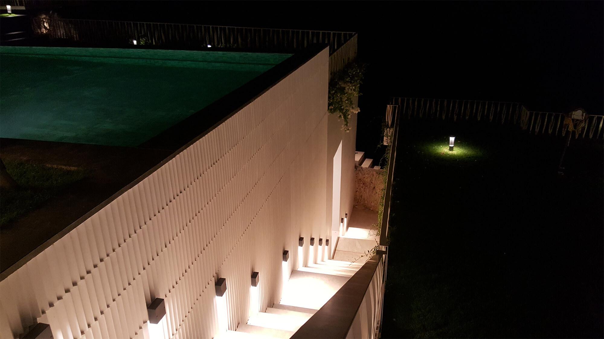 bali villa staircase at night